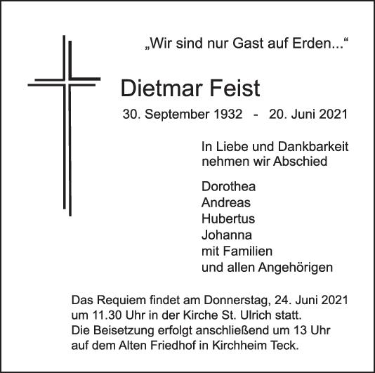 Trauer Dietmar Feist <br><p style=