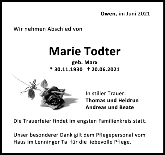 Trauer Marie Todter <br><p style=