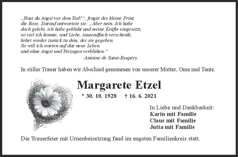 Trauer Margarete Etzel <br><p style=