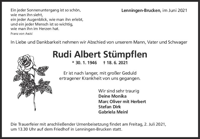 Trauer Rudi Albert Stümpflen <br><p style=