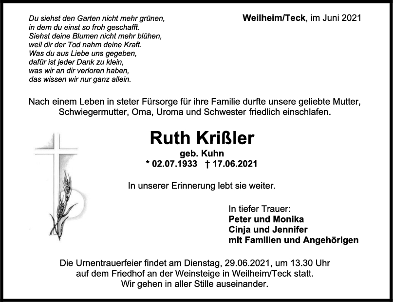 Trauer Ruth Krißler <br><p style=