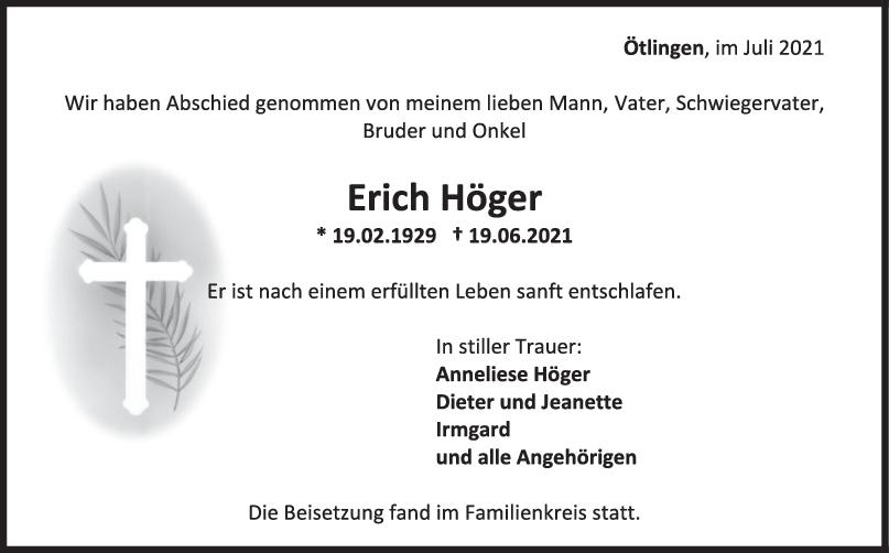 Trauer Erich Höger <br><p style=