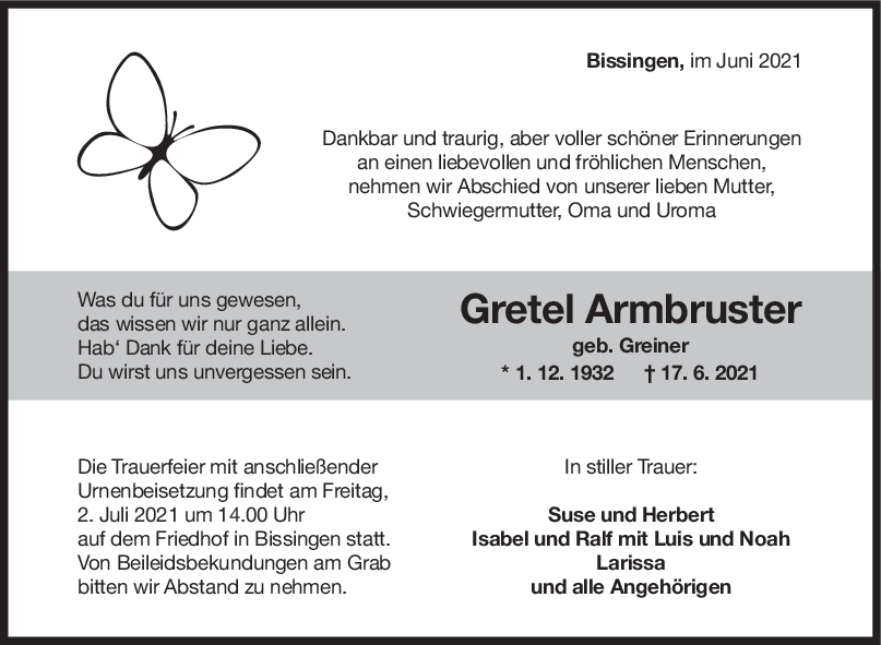 Trauer Gretel Armbruster <br><p style=