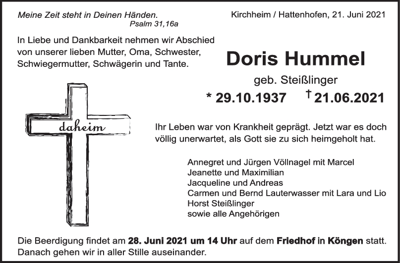 Trauer Doris Hummel <br><p style=