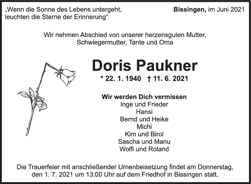 Trauer Doris Paukner <br><p style=