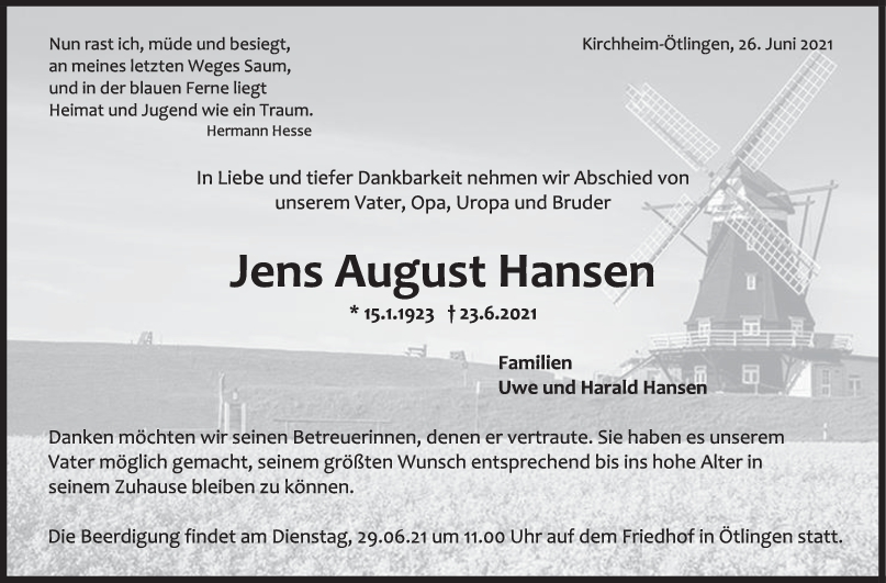 Trauer Jens August Hansen <br><p style=