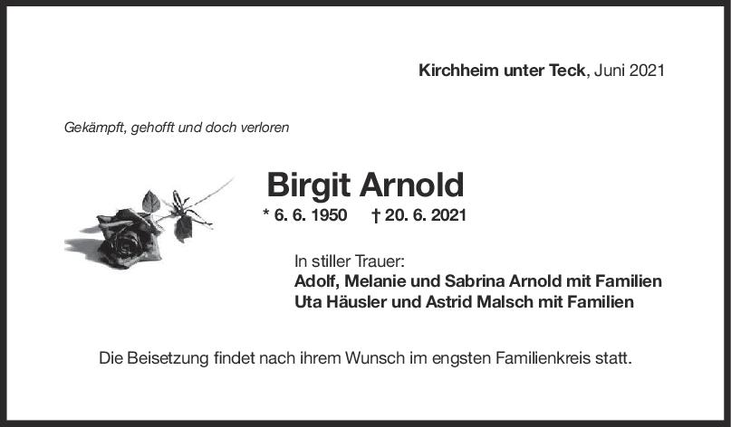 Trauer Birgit Arnold <br><p style=