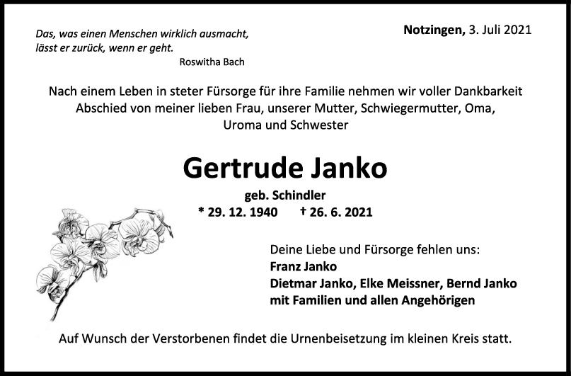 Trauer Gertrude Janko <br><p style=