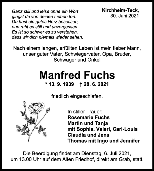 Trauer Manfred Fuchs <br><p style=
