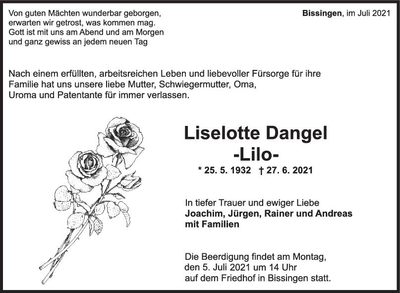 Trauer Liselotte Dangel <br><p style=