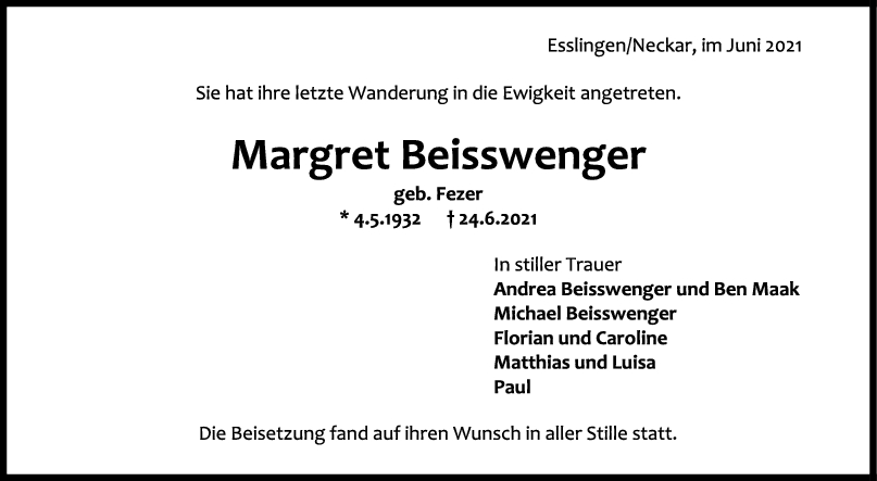 Trauer Margret Beisswenger <br><p style=