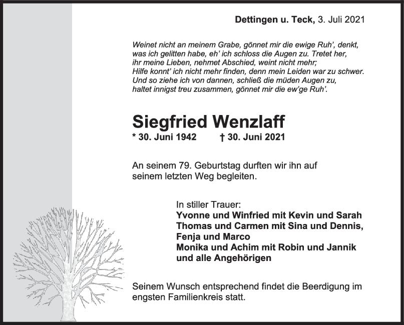 Trauer Siegfried Wenzlaff <br><p style=