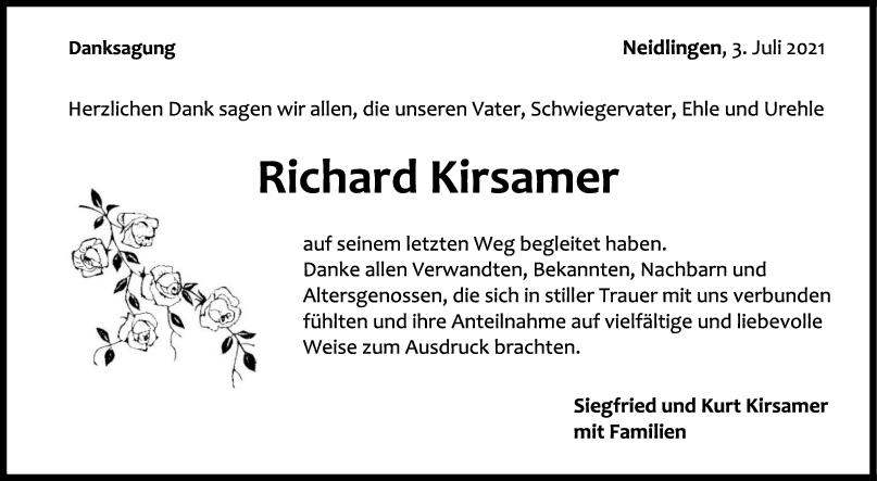 Danksagung Richard Kirsamer <br><p style=