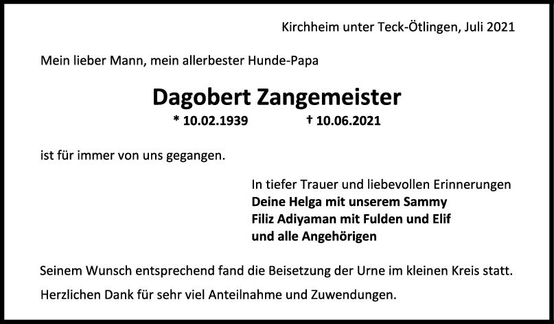 Trauer Dagobert Zangemeister <br><p style=