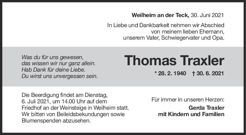 Trauer Thomas Traxler <br><p style=