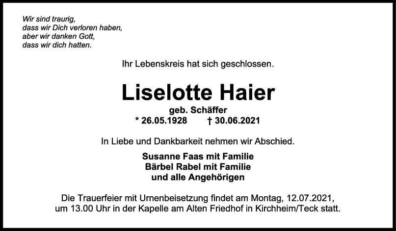 Trauer Liselotte Haier <br><p style=