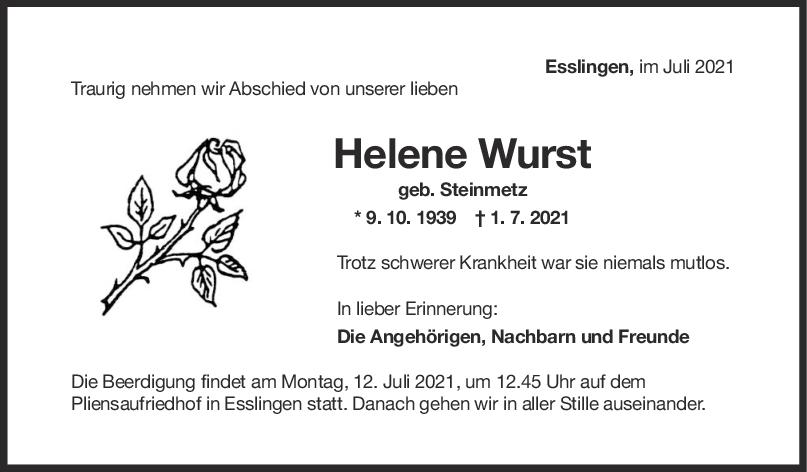 Trauer Helene Wurst <br><p style=