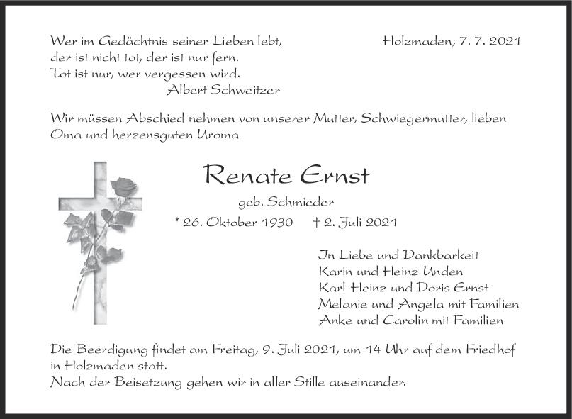 Trauer Renate Ernst <br><p style=