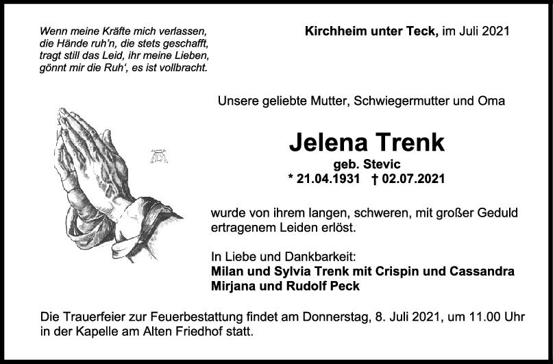 Trauer Jelena Trenk <br><p style=
