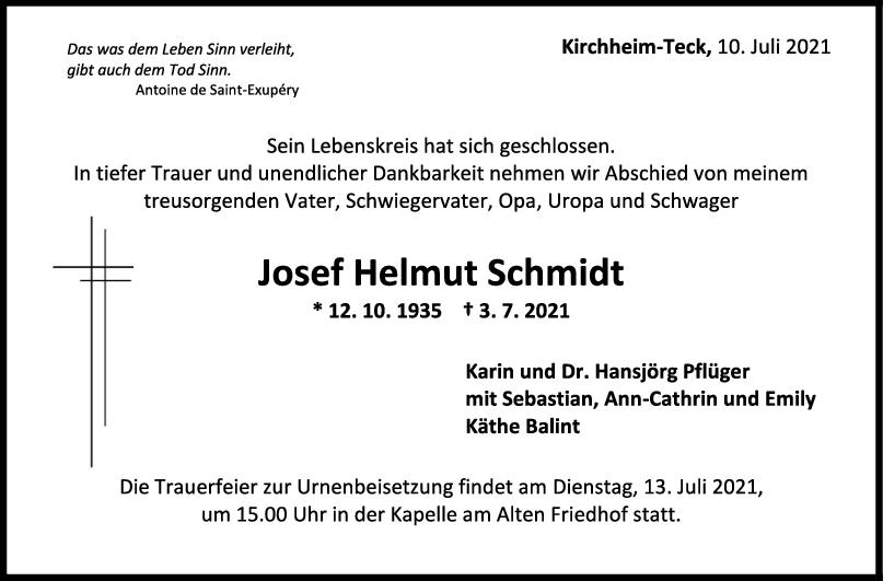 Trauer Josef Helmut Schmidt <br><p style=