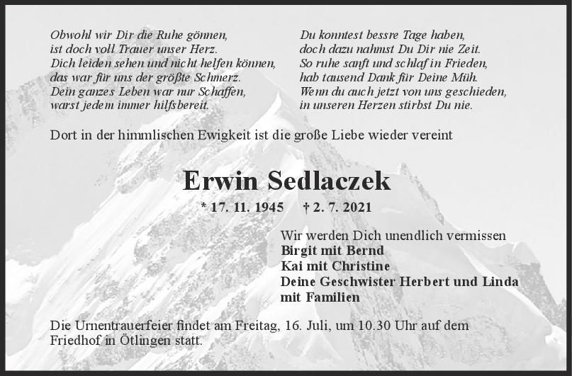Trauer Erwin Sedlaczek <br><p style=
