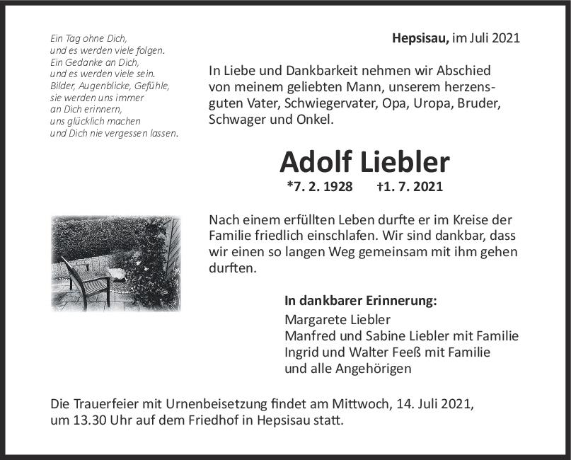 Trauer Adolf Liebler <br><p style=