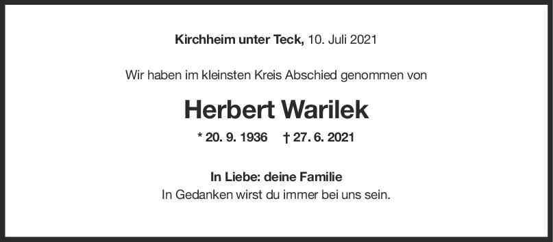 Trauer Herbert Warilek <br><p style=