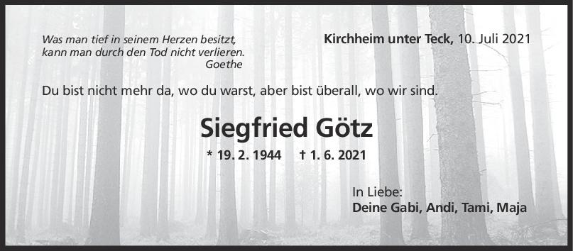 Trauer Siegfried Götz <br><p style=
