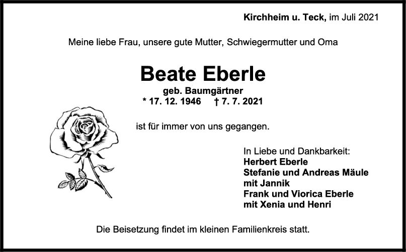 Trauer Beate Eberle <br><p style=