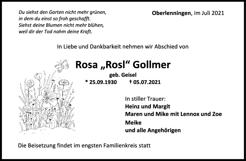 Trauer Rosa Gollmer <br><p style=
