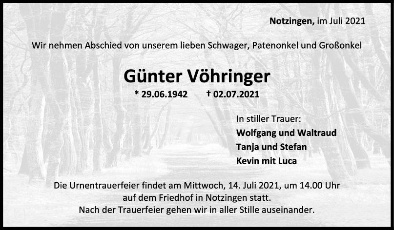 Trauer Günter Vöhringer <br><p style=