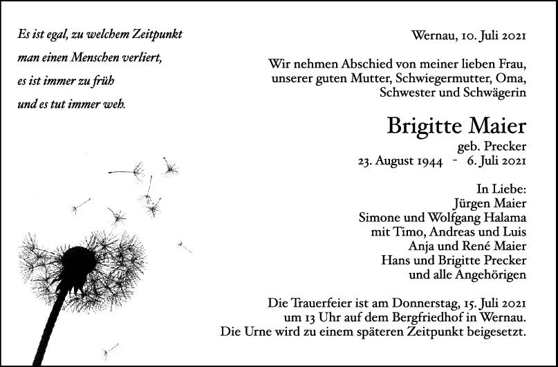 Trauer Brigitte Maier <br><p style=