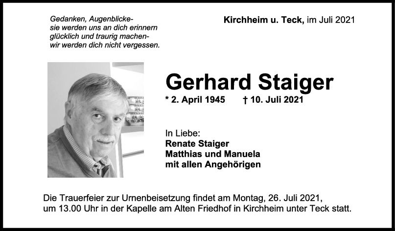 Trauer Gerhard Staiger <br><p style=