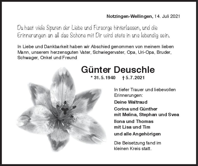 Trauer Günter Deuschle <br><p style=