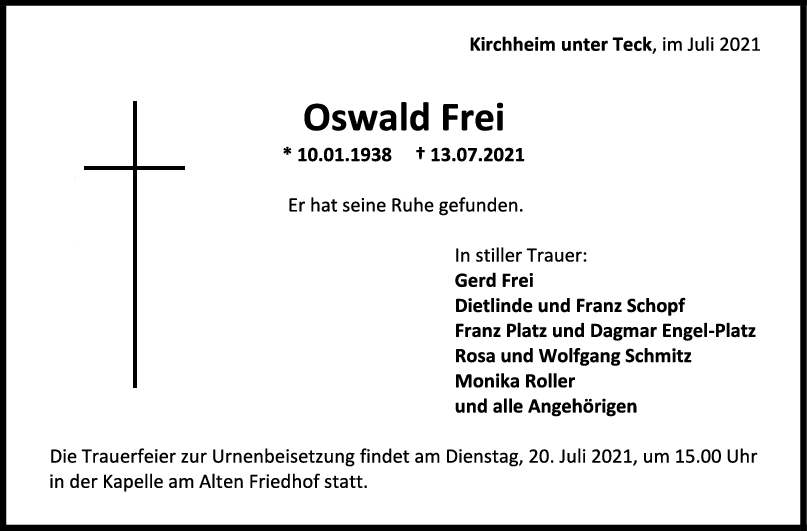 Trauer Oswald Frei <br><p style=