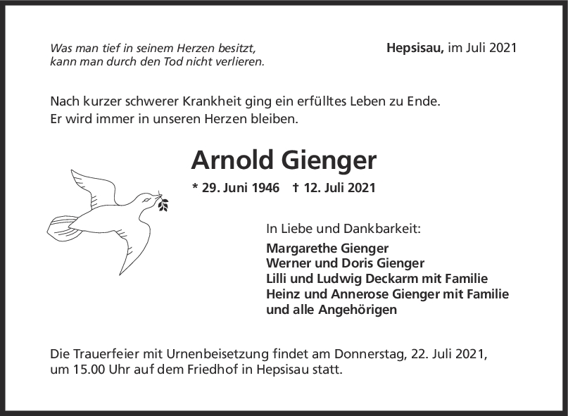 Trauer Arnold Gienger <br><p style=