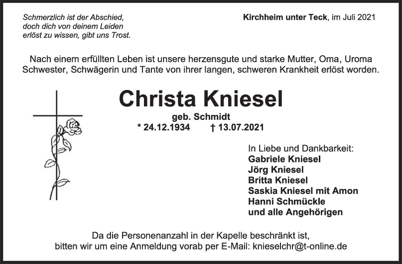 Trauer Christa Kniesel <br><p style=