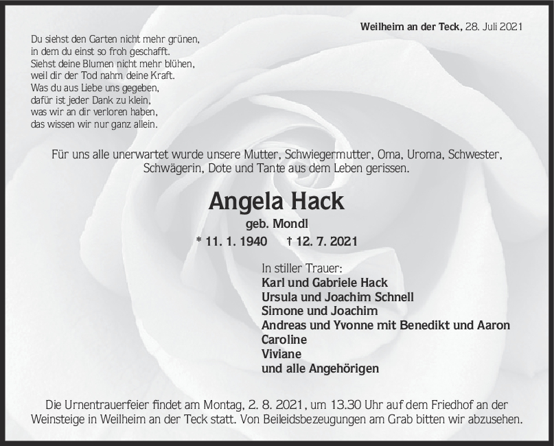 Trauer Angela Hack <br><p style=