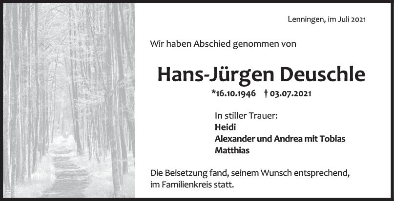 Trauer Hans-Jürgen Deuschle <br><p style=