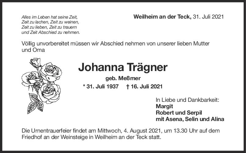 Trauer Johanna Trägner <br><p style=