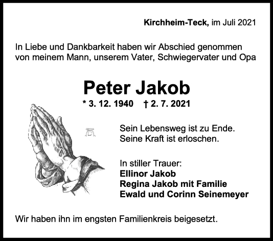 Trauer Peter Jakob <br><p style=