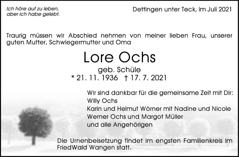 Trauer Lore Ochs <br><p style=
