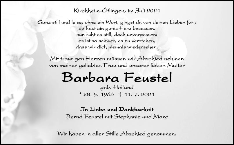 Trauer Barbara Feustel <br><p style=