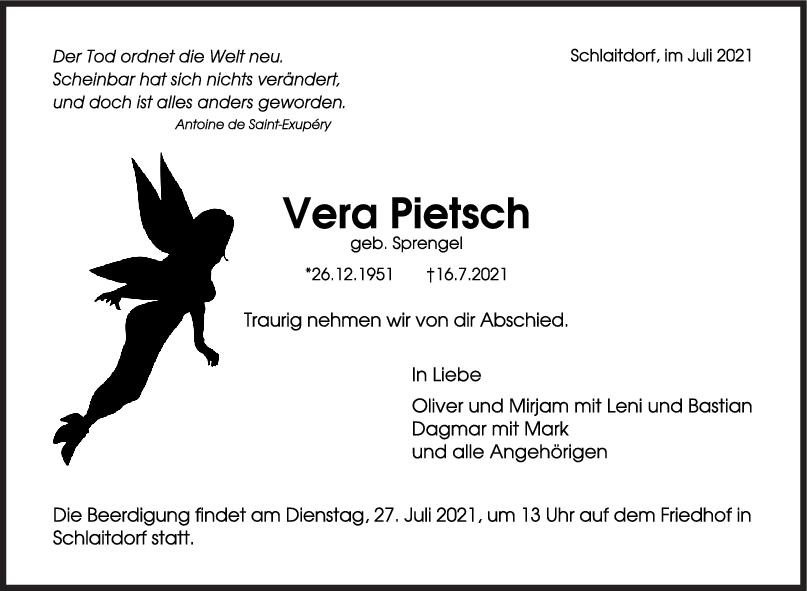Trauer Vera Pietsch <br><p style=