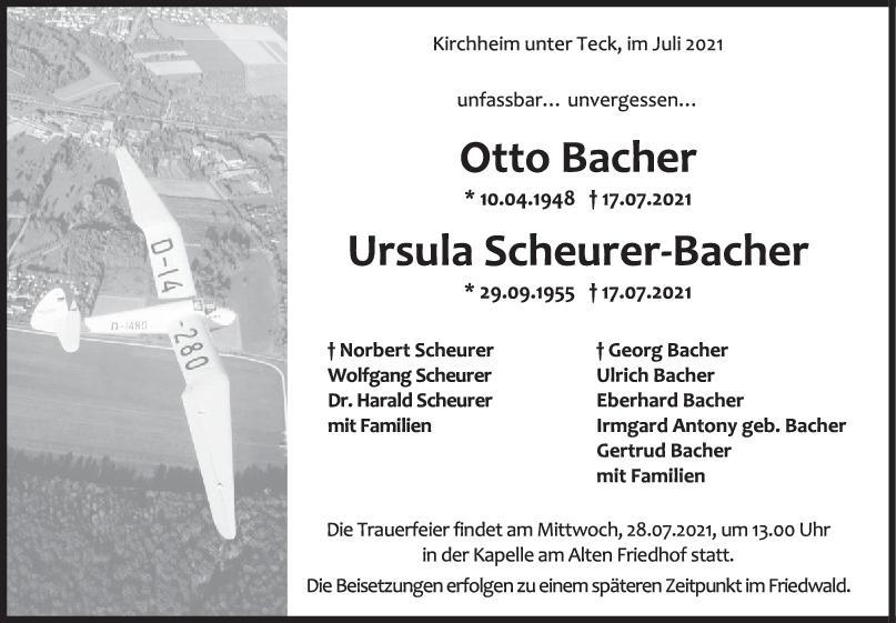 Trauer Otto Bacher & Ursula Scheurer-Bacher<br><p style=