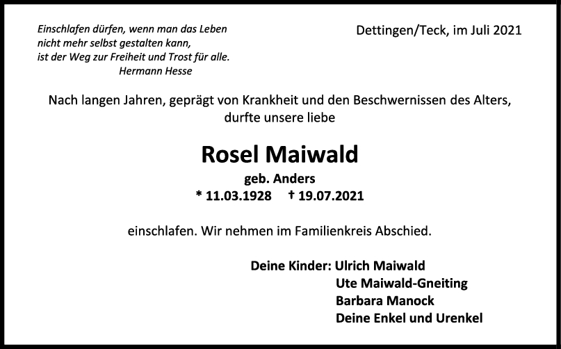 Trauer Rosel Maiwald <br><p style=