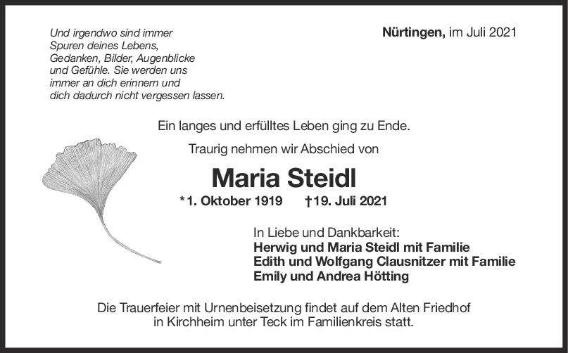 Trauer Maria Steidl <br><p style=