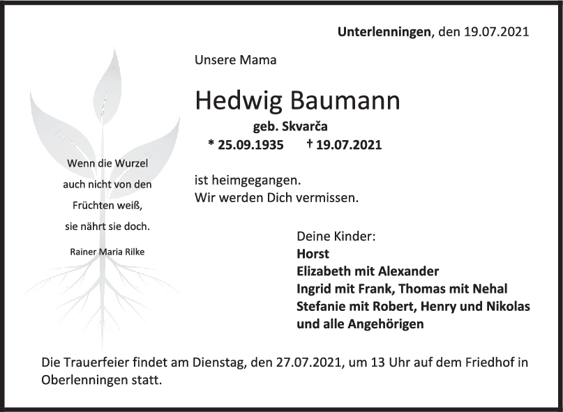 Trauer Hedwig Baumann <br><p style=