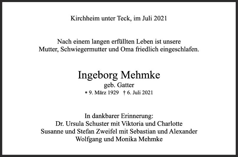 Trauer Ingeborg Mehmke <br><p style=
