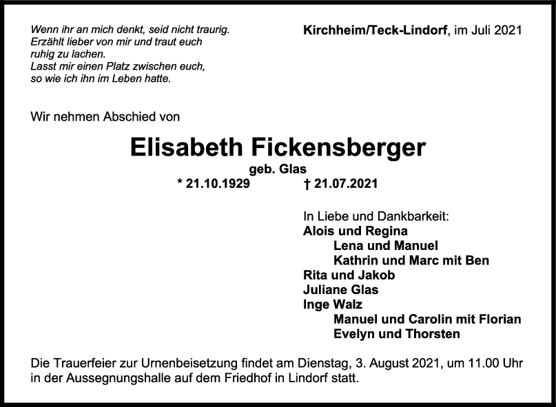 Trauer Elisabeth Fickensberger <br><p style=